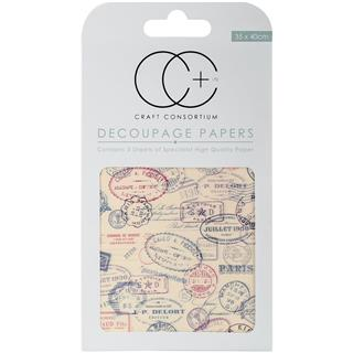 Decoupage papir, Travel Stamps, 3 pole 35x40 cm, 23gsm