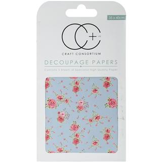 Decoupage papir, Antique Rose Blue, 3 pole 35x40 cm, 23gsm
