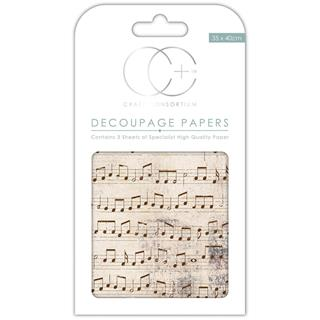 Decoupage papir, Old Music, 3 pole 35x40 cm, 23gsm