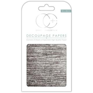 Decoupage papir, White Wood, 3 pole 35x40 cm, 23gsm