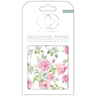 Decoupage papir, Bloom of Roses, 3 pole 35x40 cm, 23gsm