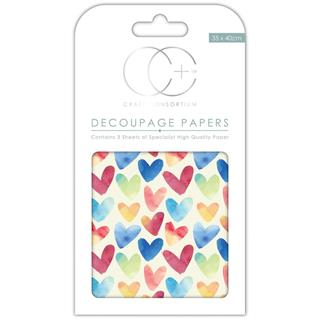 Decoupage papir, Watercolour Hearts, 3 pole 35x40 cm, 23gsm
