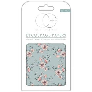 Decoupage papir, Rose bloom, 3 pole 35x40 cm, 23gsm