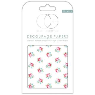 Decoupage papir, Button Rose, 3 pole 35x40 cm, 23gsm